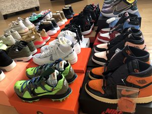 Nike Jordan Yeezy Sacai Off-White Fear of God Reacts Flyknits New Balance and MORE! Message for details! for Sale in Moreno Valley, CA