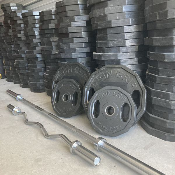 """Weight Set- Olympic Bar, EZ Curl Bar, 45s, 25s & 2"""" Clips"""