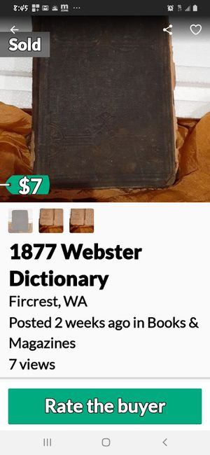 1877 WEBSTER DICTIONARY for Sale in Tacoma, WA