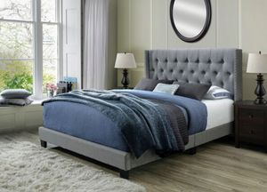 Beautiful Grey Queen Tufted Upholstered Bed for Sale in Burlington, VT