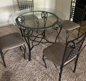 Dining room| Round glass table | Four chairs for Sale in Atlanta, GA
