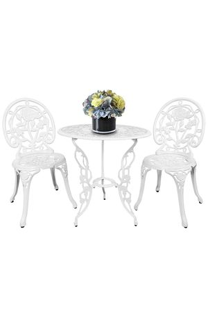 HOMEFUN Bistro Table Set, White Rose 3 Piece, Outdoor Patio Table and Chairs Furniture, Durable Rust Weather Resistance for Sale in Monterey Park, CA