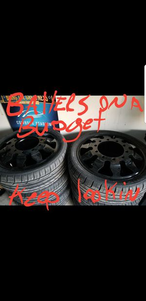 """24"""" custom 10 lug dually (6) wheels with brand new tires! for Sale in Austin, TX"""