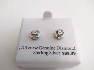 EARRINGS: 1/10 ct.tw. Genuine Diamond Sterling Silver ( DIA / .925 ) for Sale in Hazel Park, MI