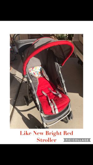 Bright Red Baby Stroller w/ colorful multicolored Alphabet Foldable lightweight Infant to Toddler orbit mclaren stokke xplory pram newborn diaper bag for Sale in Glendale, AZ