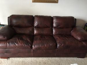 Leather brown 8ft couch for Sale in Manassas, VA