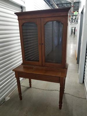 Vintage Solid Wood Cabinet & Desk - Locks W/ Key! for Sale in Renton, WA