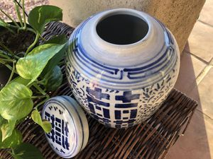 Blue and White Ceramic Vase with Lid for Sale in Tucson, AZ