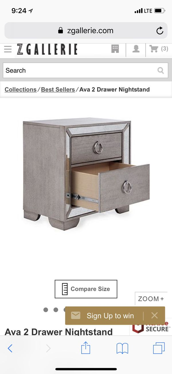 Z Gallerie Ava 2 Drawer Nightstand For Sale In Los Angeles Ca Offerup