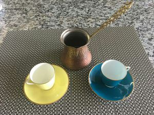 Turkish Coffee, Cupper Pot, and Cups for Sale in Arlington, VA