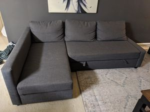 IKEA FRIHETEN Sleeper Sectional 3 Seat w/Storage, Chaise - Grey for Sale in Alexandria, VA