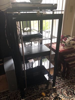 Glas tv stand for Sale in Howell Township, NJ