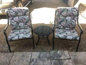 Little Aluminum Patio Table & 2 Aluminum Patio Chairs W/ Cushions [Read Description] for Sale in Phoenix, AZ