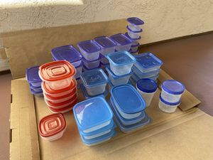 50 Piece Mixed Set of plastic storage containers for Sale in San Diego, CA