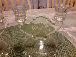TWO Beautiful All Glass CANDLE HOLDER for Sale in Arnold, MO
