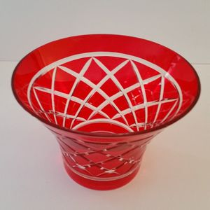 Red Etched Glass Vase for Sale in Chesapeake, VA