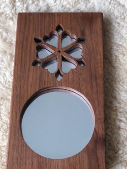 """Vintage hanging wood mirror with round and flower shape cut outs / 11.75""""x6.25"""" for Sale in Hillsboro,  OR"""
