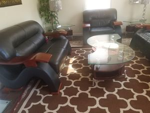 Living room couches sofa set with three tables and four stools and rug for Sale in West Haven, CT
