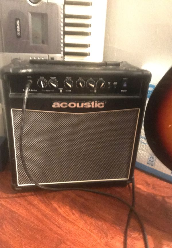 Electric acoustic Fender guitar and acoustic amp