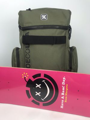 DC Shoe Co. Top Dunker Green Backpack + Bam Margera Skateboard Deck - Brand New 25th Anniversary Skate Deck for Bam Margera! for Sale in Mission Viejo, CA