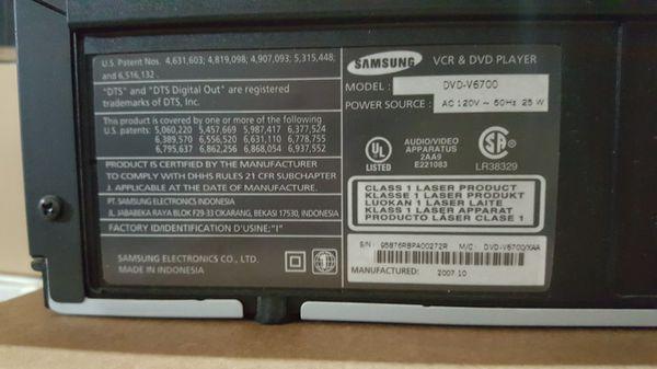 Samsung V6700 VCR/DVD HI DEFINITION PLAYER