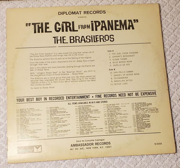 The Brasileros The Girl From Ipanema Vinyl LP Record