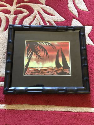 Hawaii beach ocean boat art cloth in framed picture frame for Sale in San Francisco, CA