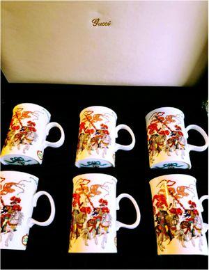 Gucci Set of Six English Bone China Mugs in Gucci Presentation Box c 1980s for Sale in Takoma Park, MD