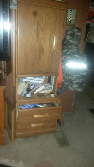 Cabinet with door and shelves and open storage and two big drawers. Nice compact and storage galore wooden cabinets . Two available. for Sale in Suffolk, VA
