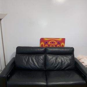 Black Real Leather Couch for Sale in Brooklyn, NY