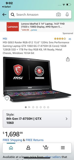 MSi Laptop Used Like New for Sale in Germantown, MD