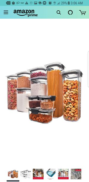 Rubbermaid Brilliance Pantry Organization & Food Storage Containers with Airtight Lids, Set of 10 (20 Pieces Total) for Sale in City of Industry, CA