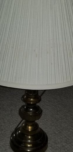 Vintage Antique Brass Table lamp Pleated Cream Shade for Sale in Phoenixville,  PA