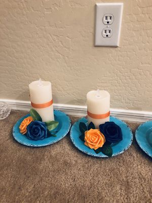 Handmade wedding graduation centerpieces set of 4 Orange and blue roses with flameless candle with remote in new batteries for Sale in Chandler, AZ