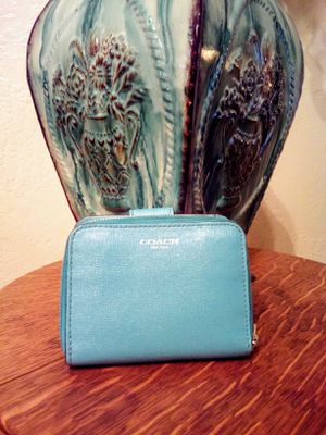 COACH Tiffany Blue Leather Double Sided (zip around & flap) clutch bifold wallet for Sale in Phoenix, AZ