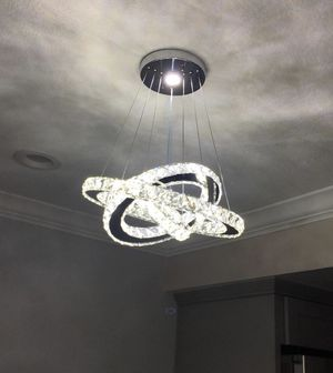 NEW LED Modern Crystal Chandeliers 3 rings LED Ceiling Lighting Fixture Adjustable Stainless Steel Pendant Light for Sale in Cupertino, CA