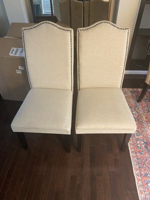 6 Linen and NailHead lined dining chairs for Sale in Lorton, VA