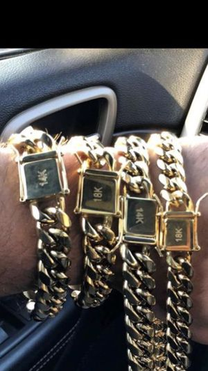 Miami Cubans gold filled chain and bracelet set for Sale in Miami, FL