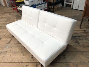 White Futon, Small Sofa, Couch, Adjustable for Sale in Tacoma, WA