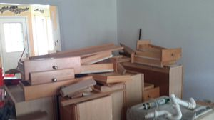 Kitchen cabinets for sale. Lower and upper cabinets. Light pine color. Asking $700 for Sale in Chesapeake, VA