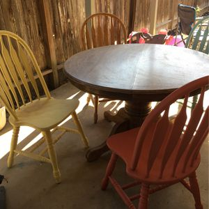Dining Table And 4 Chairs. Solid Wood . Good Condition. for Sale in Lindsay, CA