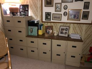 Filing cabinets and wooden shelf topper for Sale in Spring Lake Park, MN