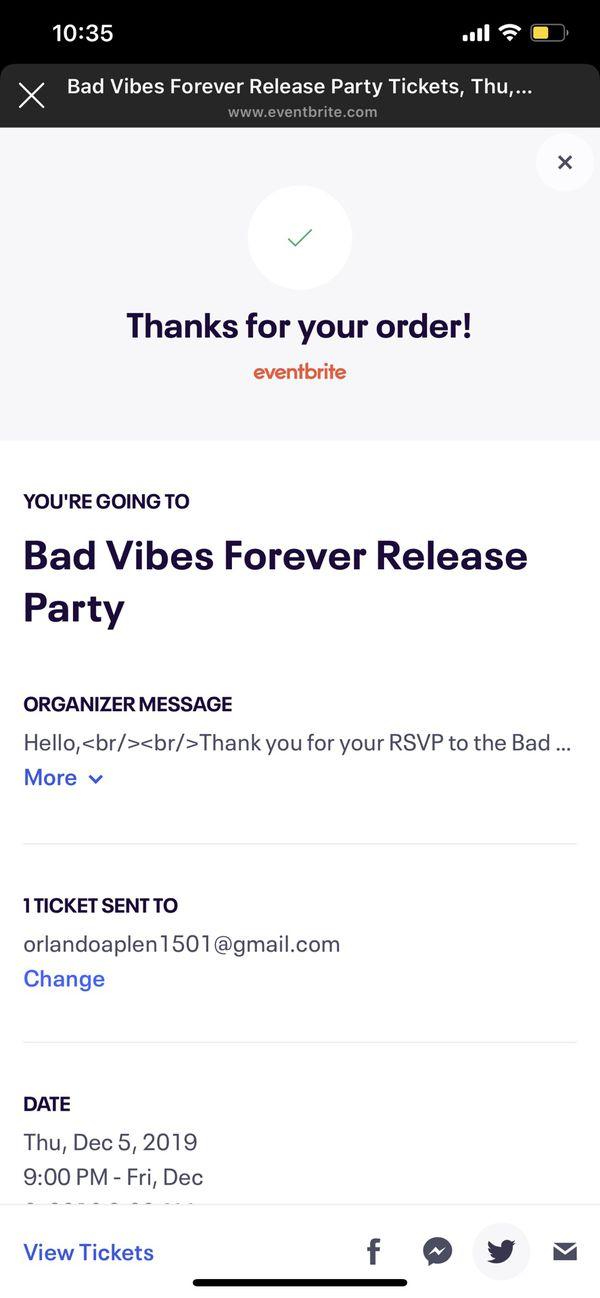 Sold out XXXTENTACION album release party ticket