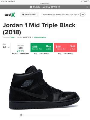 Jordan 1 mid triple black (2018) for Sale in Miami, FL