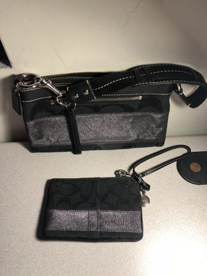 Coach Black/Silver Purse with Wristlet for Sale in Tucson, AZ