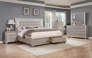 Mariano Champagne LED Storage Queen or King bedroom set - bed, dresser, mirror, nightstand FREE SAME DAY DELIVERY for Sale in Rosenberg, TX