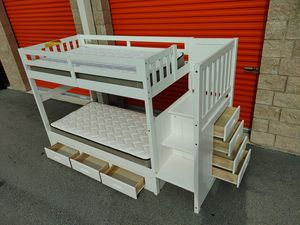 White Bunk Bed with Drawers and 2 Mattresses( barely used) - GREAT CONDITION- DELIVERY NEGOTIABLE for Sale in Boca Raton, FL