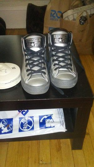 Men's size 9 converse all star silver high tops for Sale in Portland, OR
