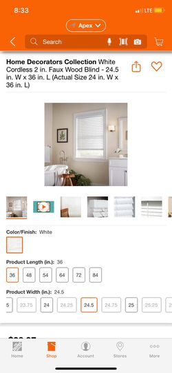 Home Decorators Collection White Cordless 2 in. Faux Wood Blind -24.5 in. W x 36 in. L (Actual Size 24 in. W x 36 in. L) for Sale in Apex,  NC
