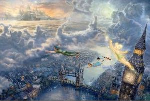 Thomas Kinkade Tinker Bell and Peter Pan Fly to Neverland for Sale in Seattle, WA